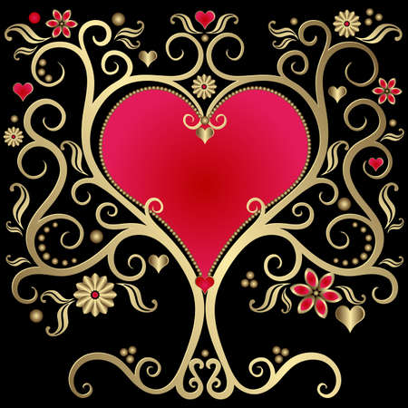 volute: Gold valentines vintage frame with heart on black  background (vector)