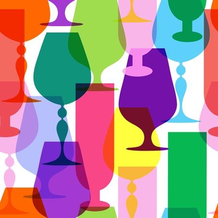 winy: Colorful  limpid wine glasses. Seamless pattern  Illustration