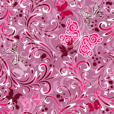 Pink seamless floral pattern with curls and butterflies  Stock Vector - 12023895