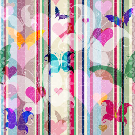 Striped seamless valentine pattern with butterflies and flowers (vector EPS 10) Vector