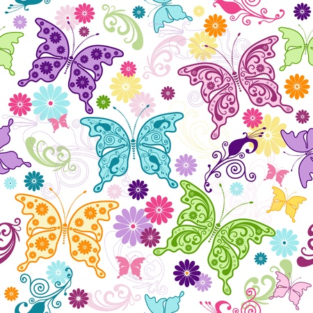violet red: Seamless floral pattern with colorful butterflies and flowers (vector) Illustration