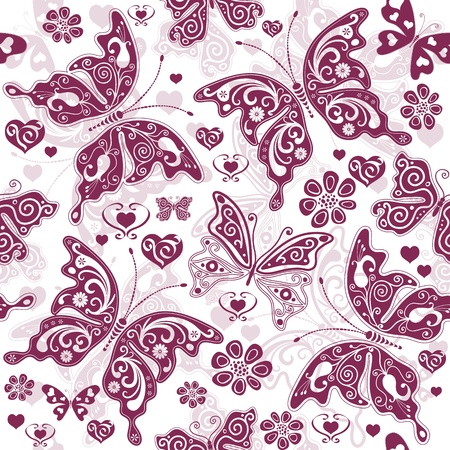 White and purple seamless floral valentine pattern with butterflies and hearts (vector) Vector