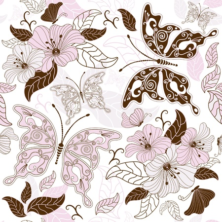 pink and brown: Seamless floral pattern with butterflies and flowers