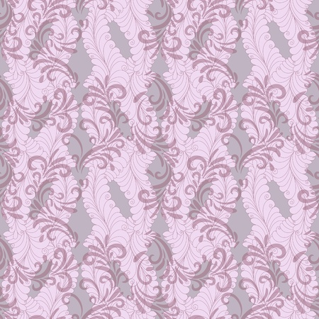 Seamless gentle pink-grey floral pattern with transparent curls Vector