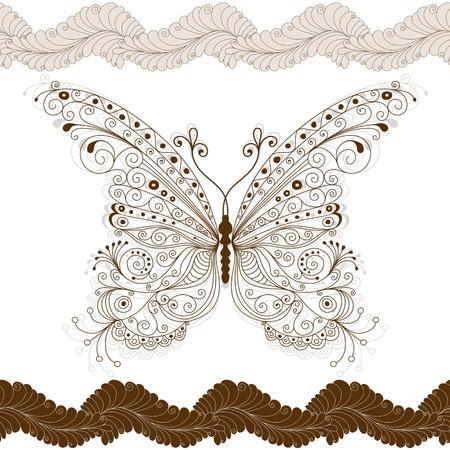 papillon rose: Seamless floral avec grand papillon vintage marron fleurs Illustration