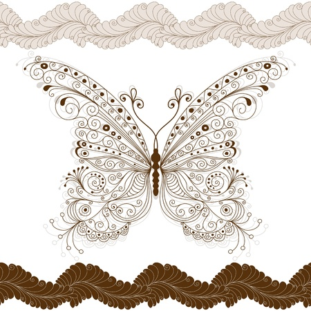 pink butterfly: Seamless floral pattern with big vintage brown butterfly and flowers