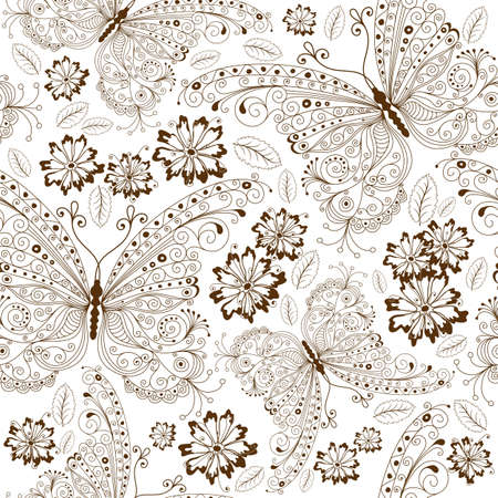 Repeating white floral pattern with vintage brown butterflies and flowers Vector