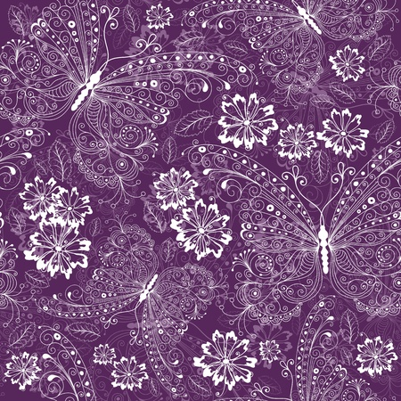 purple butterfly: Violet seamless floral pattern with vintage white butterflies and flowers
