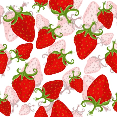 wild strawberry: Seamless white floral pattern with red strawberries Illustration