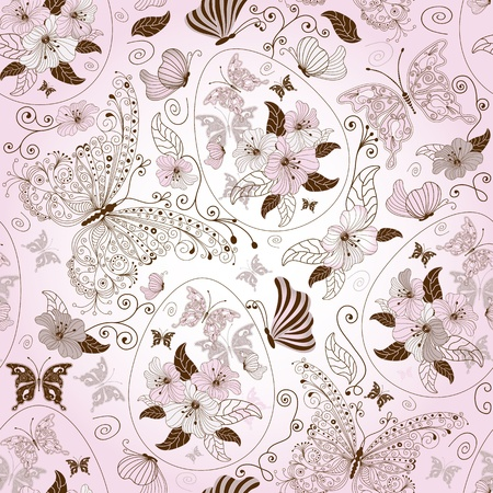 Seamless pink easter floral pattern with eggs, butterflies and flowers Vector