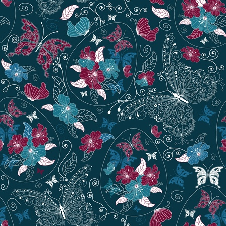 Seamless dark blue ester floral pattern with eggs, butterflies and flowers Stock Vector - 12495281
