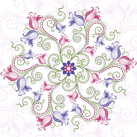 曼陀羅: カラフルなビンテージ花丸花のフレーム