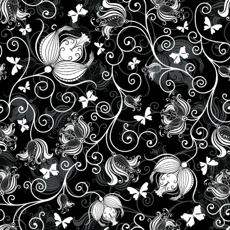 ЧЁРНЫЙ ФОН 12495275-seamless-black-and-white-floral-pattern-with-vintage-flowers-and-butterflies