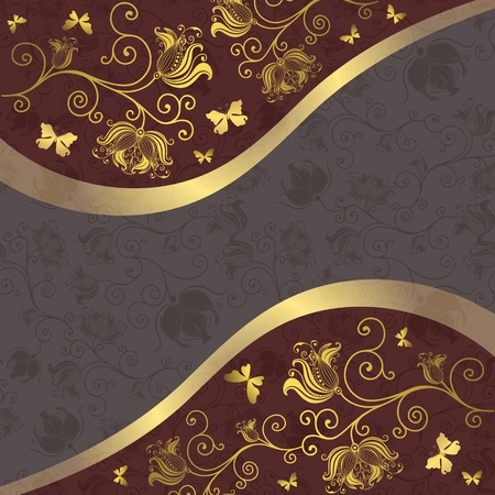 Gold and purple-gray floral frame with curls and butterflies  Vector