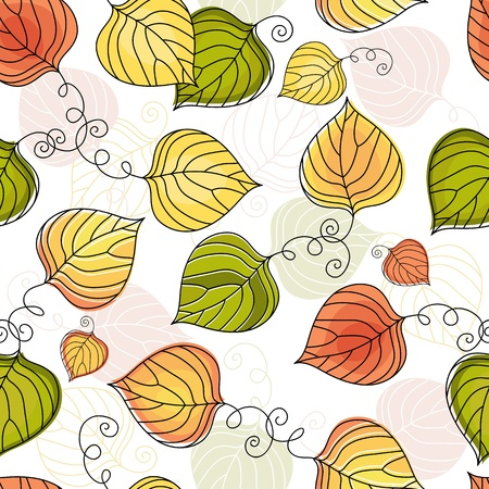 harmonious: Autumn seamless white floral pattern with colorful leaves