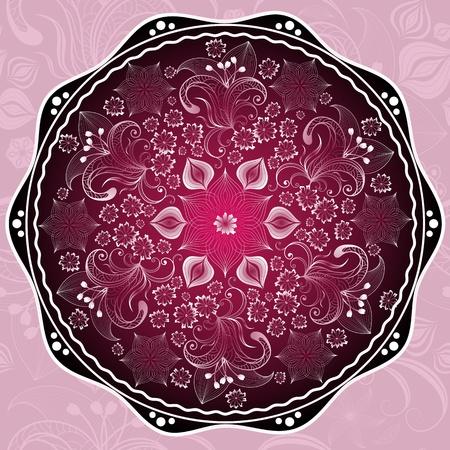 arabesque antique: Purple round floral frame with flowers on pink seamless pattern  vector