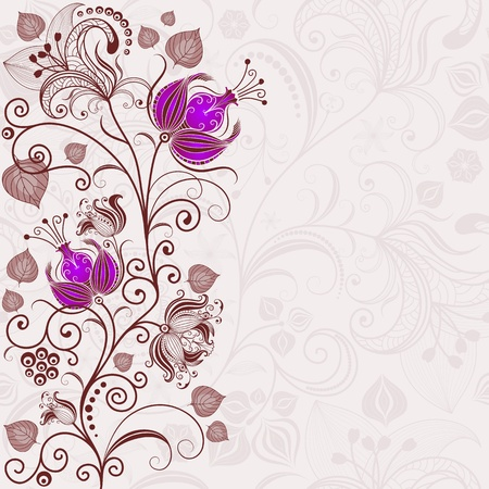 handwork: Gentle floral easter, frame with curls and violet flowers  vector