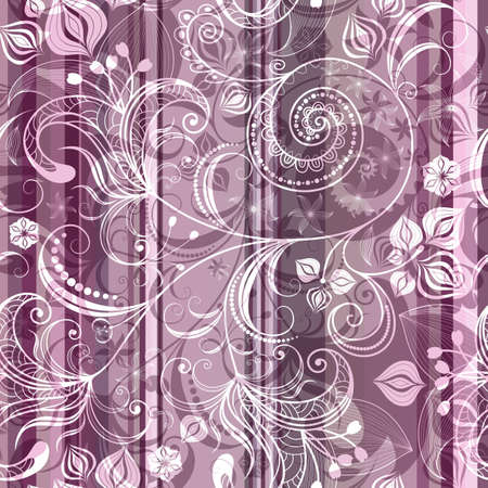 Pink and gray striped seamless pattern with transparent flowers  Vector