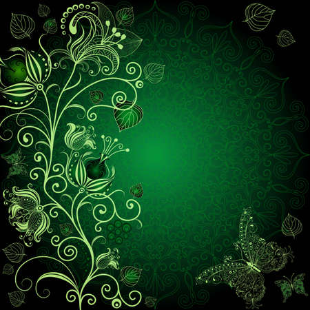 Dark green floral frame with flowers and butterflies  Vector