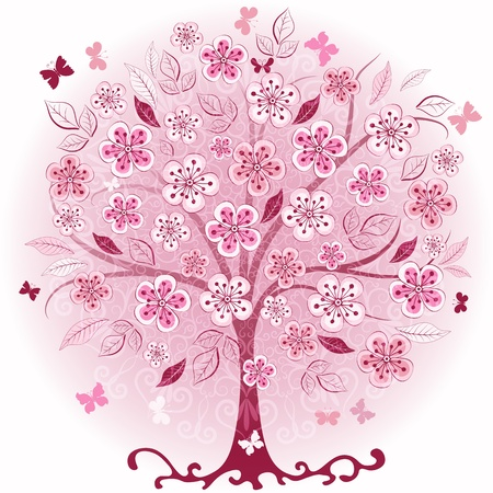 Decorative pink spring tree with flowers, leaves and butterflies  Illustration