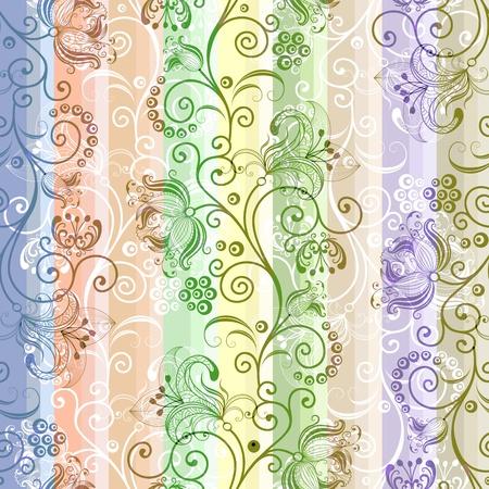 translucent: Colorful floral seamless striped translucent pattern  Illustration