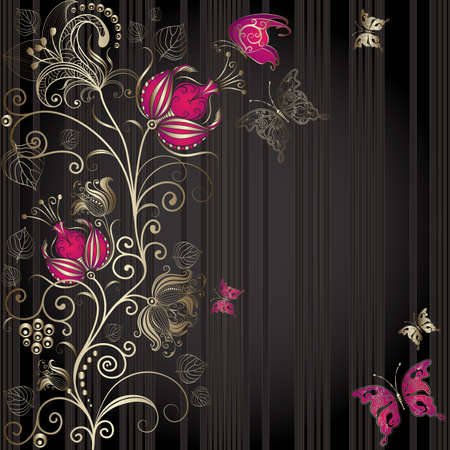 black lace: Vintage dark striped easter elegance frame with gold floral border and butterflies (vector)