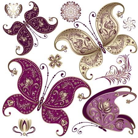 butterfly tattoo: Establecer las mariposas de �poca de color p�rpura y oro y flores (vector)