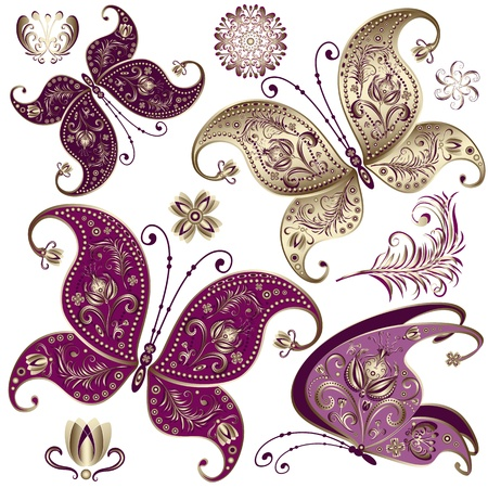 butterfly wings: Set purple and gold vintage butterflies and flowers (vector)