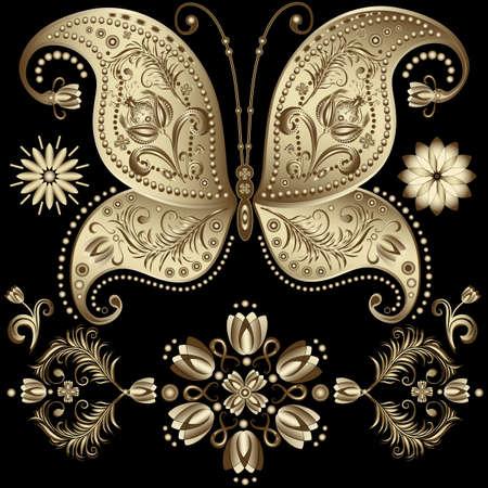 carve: Establecer mariposas de oro de �poca y flores sobre fondo negro (vector)