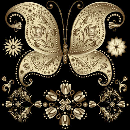 butterfly tattoo: Set gold vintage butterflys and flowers on black (vector)