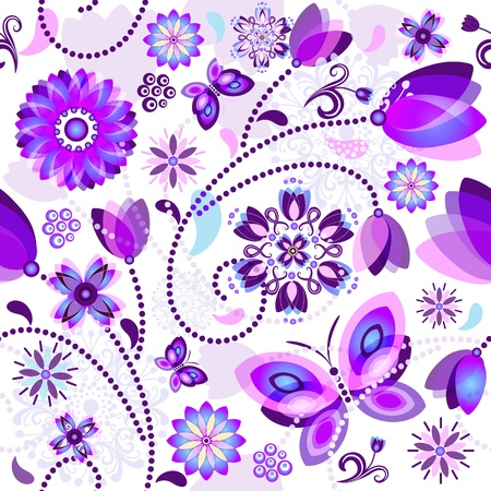 purple butterfly: Seamless spring floral pattern with violet and blue translucent flowers and butterflies  Illustration