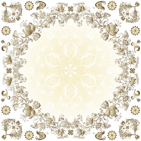 Gold easter round frame with vintage floral border and  butterflies (vector) Vector