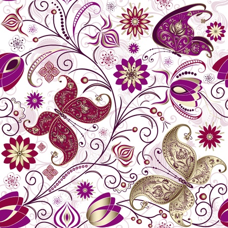 leafage: Vintage seamless pattern with butterflies, flowers and berries (vector)