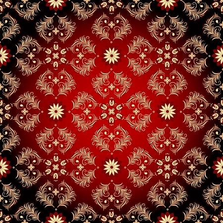 red swirl: Seamless red-black-yellow pattern with vintage flowers (vector) Illustration