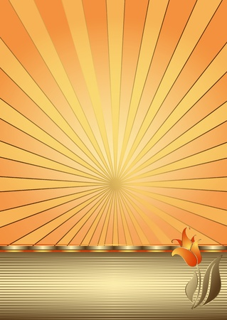 Easter card with gold rays, strips and tulip Vector