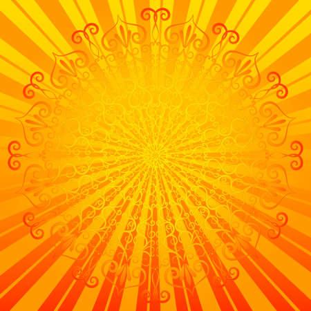 Vivid sunny easter round frame with elegance ornament  vector  Illustration