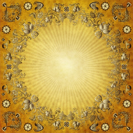 butterfly stationary: Old yellow paper with rays and gold vintage border Stock Photo