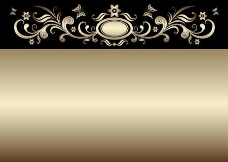 ovals: Vintage gold elegance easter card with gold floral border