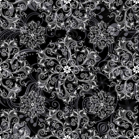 Black seamless background with round white floral pattern (vector)
