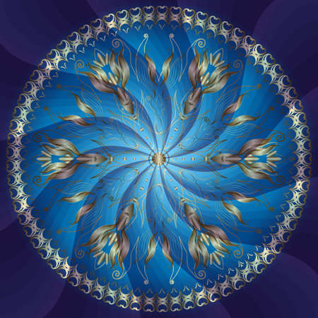 Round floral frame with gold flowers on blue background with rays (vector EPS 10)