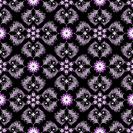 Seamless dark vintage pattern with white and violet flowers (vector) Stock Vector - 13120447