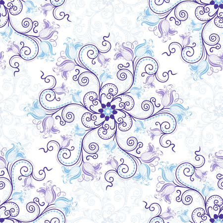 lace filigree: Gentle white-blue seamless background with round blue-violet floral pattern (vector)