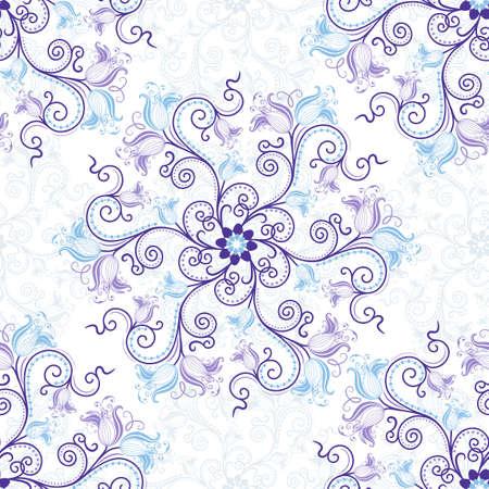 arabesque: Suave blanco-azul de fondo sin fisuras con todo el azul-violeta estampado de flores (vector) Vectores