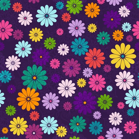 Seamless floral vivid pattern with colorful flowers and vintage curls Vector