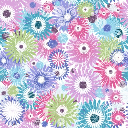 Seamless floral pastel pattern with colorful flowers and vintage curls