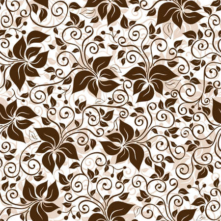 Seamless white and brown floral pattern with curls and leaves  vector  Vector