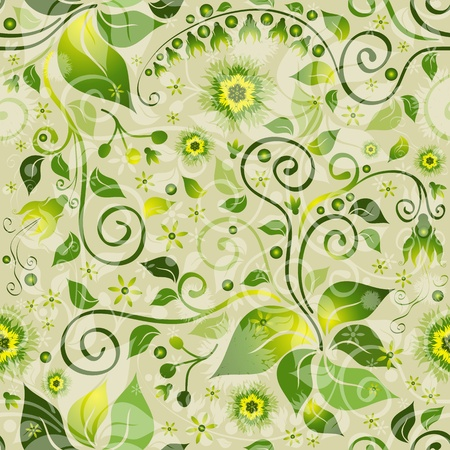 Seamless floral green pattern with flowers and vintage curls (vector eps 10) Illustration