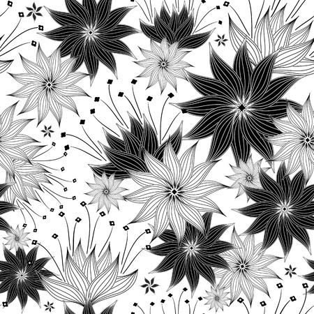 black and white backgrounds: Seamless white and black floral pattern with vintage flowers