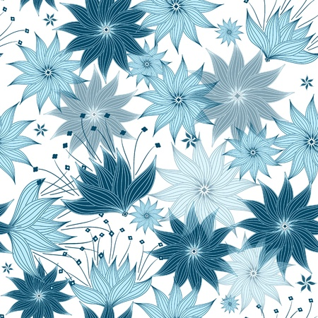 whiteblue: Seamless white-blue floral pattern with translucent flowers  Illustration