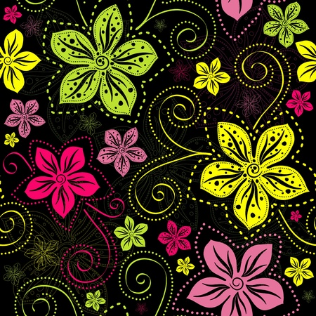 textile image: Seamless floral dark pattern with vivid colorful vintage flowers curls  vector  Illustration